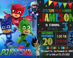 pj masks invitation pj masks birthday party pj masks