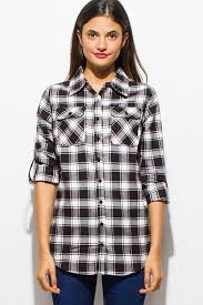 shop black checker plaid flannel long sleeve button up blouse top