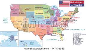 a usa map with states and capitals states capitals major cities united states stock illustration