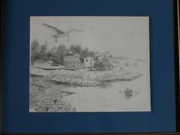 framed coastal sketches various artists set of four ebay