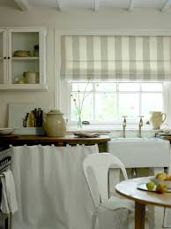 shabby chic kitchen design simple striped window curtains using white chairs for classic