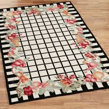 White And Black Area Rug Fruit Garland Area Rugs