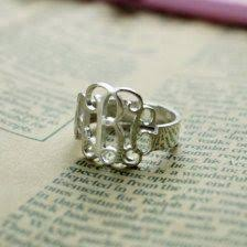 Monogram Rings Silver Personalized Silver Monogram Ring Custom Made By Bestnamenecklace