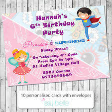 princess superhero party invitations kids invites birthday