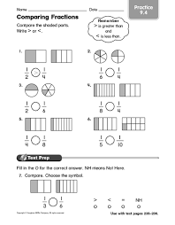 comparing and ordering fractions worksheets 4th grade worksheets