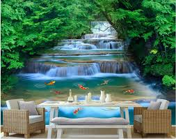 compare prices on waterfall wall murals online shopping buy low custom mural 3d wallpaper forest river waterfall home decoration painting 3d wall murals wallpaper for living