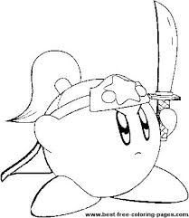 a great coloring page of kirby holding a sword kirby coloring