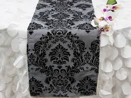 dual tone edition flocking table runner silver black