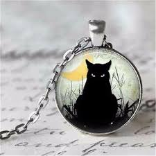 black cat pendant necklace images Beautiful black cat pendant necklace glass cabochon silver bronze jpg
