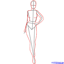 drawn woman body pencil and in color drawn woman body