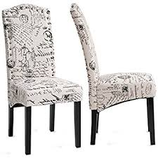Accent Chair Set Of 2 Amazon Com Merax Script Fabric Accent Chair Dining Room Chair