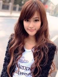 same haircut straight and curly popular long asian women hairstyles with long curly hair with straight hair on the top and straight long bangs png