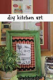 diy kitchen art with fabric scraps and a printable debbiedoos diy kitchen art work with mod podge