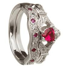 small ruby rings images 14k white gold ruby set heart claddagh ring wedding ring set jpg