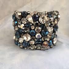 crystal rhinestone cuff bracelet images Dark blue bridal cuff bracelet swarovski rhinestone cuff the jpg