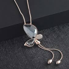 big crystal necklace images Free shipping big crystal butterfly with tassel pendant for women jpg
