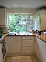 Narrowed I Shaped Kitchen Landscape Modern Ideas For Front Of House Intended Monochromatic