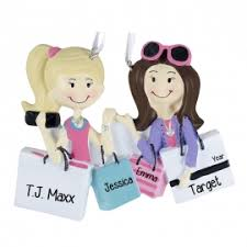 2 friends shopping holding packages ornament personalized