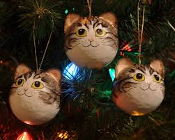 tabby fur pattern cat ornaments