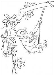 curious george with popcorn printable coloring book page for kids
