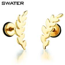one side feather earring earring supplies hip hop style gold plated one side feather