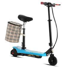 siege electrique trottinette électrique 2 roues avec siège et panier détachable bleu