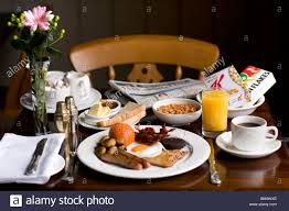breakfast table classic english breakfast table with orange juice and coffee and