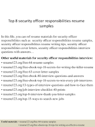 Resume Samples Security Guard by Security Officer Responsibilities Resume Free Resume Example And