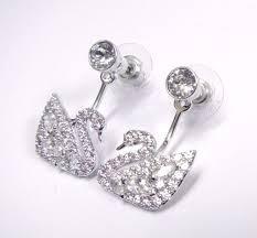earring jackets swarovski swan lake pierced earring jackets rhodium