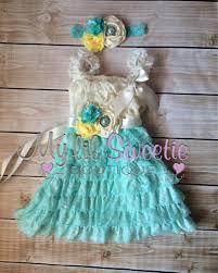 light aqua ivory yellow dress sash 3pc set headband lace