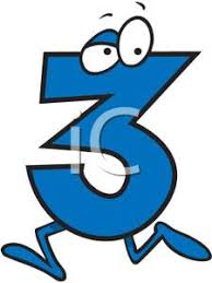 3 by Cartoon Number 3 Royalty Free Clipart Picture
