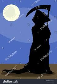 Spooky Halloween Silhouettes Cartoon Illustration Spooky Halloween Death Silhouette Stock