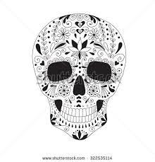 day dead sugar skull doodles stock vector 325779341