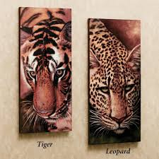 safari and african home decor touch class tiger and leopard canvas art set two