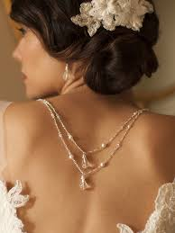 crystal back necklace images Draped figaro chain teardrop back necklace for bridal or prom jpg