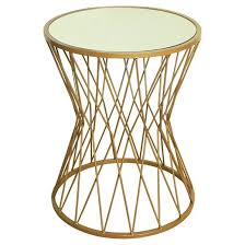 Drum Accent Table Hourglass Metal Accent Table Mirror Top Gold Homepop Target