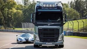 volvo 500 truck video volvo fh truck vs koenigsegg one 1 on track