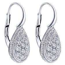 teardrop diamond earrings gabriel 14k white gold teardrop diamond earrings