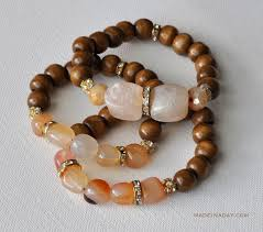 beaded bracelet with pearls images Diy wood stone bead bracelets made in a day jpg