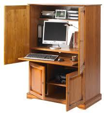 bureau informatique fermé armoire informatique 4 portes plaquée merisier beaux meubles pas chers