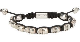 bracelet skull images Lyst nialaya skull bracelet in metallic for men jpeg