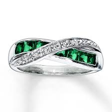 emerald silver rings images Kay lab created emerald ring diamond accents sterling silver jpg