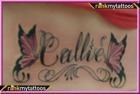 name tattoos my name with butterflies lower back tats
