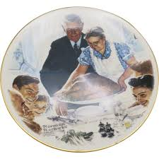 norman rockwell thanksgiving plate decorative from unsignedbeauty