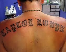 stylish old english font tattoo on back tattoo designs tattoo