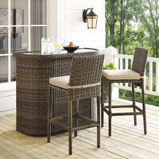 bradenton 3 piece outdoor wicker bar set bar u0026 two stools with