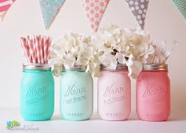jar baby shower centerpieces baby shower centerpiece painted jars decoration home decor