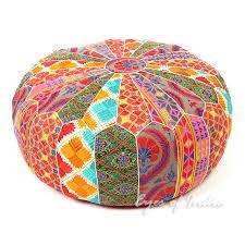Ottoman Pillow Bohemian Ottoman Pouf Pouffe Cover Boho Colorful Floor