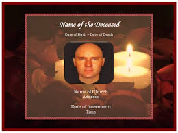 example of funeral christian memorial card candles