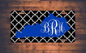 monogrammed plate kentucky monogram license plate car tag uk wildcats ky custom